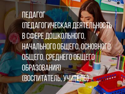 Педагог (педагогическая деятельность в сфере дошкольного, начального общего, основного общего, среднего общего образования) (воспитатель, учитель)